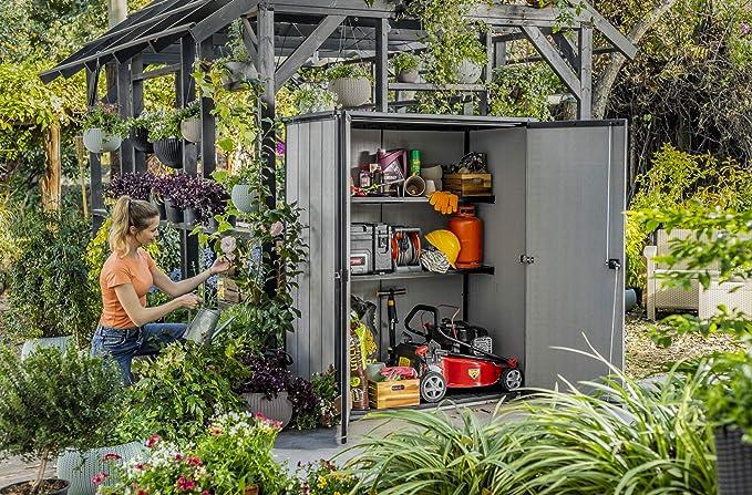 Keter Duotech High Store Plus Cobertizo de ordenación Exterior, Gris: Amazon.es: Jardín