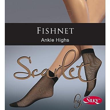 0497c546cf1ef Silky Scarlet Fishnet Ankle Highs-Black-One Size: Amazon.co.uk: Clothing