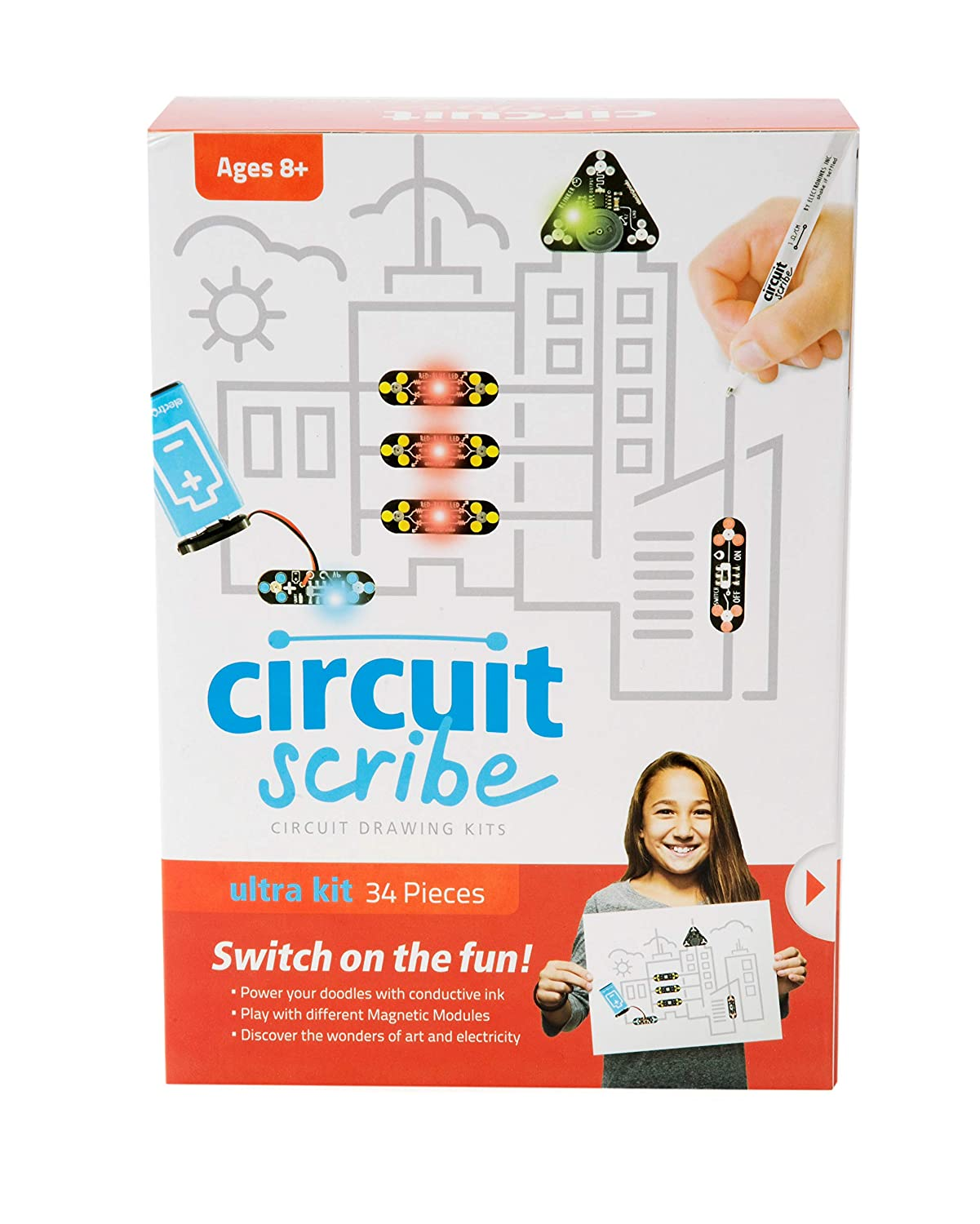 Circuit Scribe 32 Piece Ultimate Kit Includes Magnetic Kickstarter Connection Cables Super Conductive Silver Ink Pen A Motor And Everything You Need To