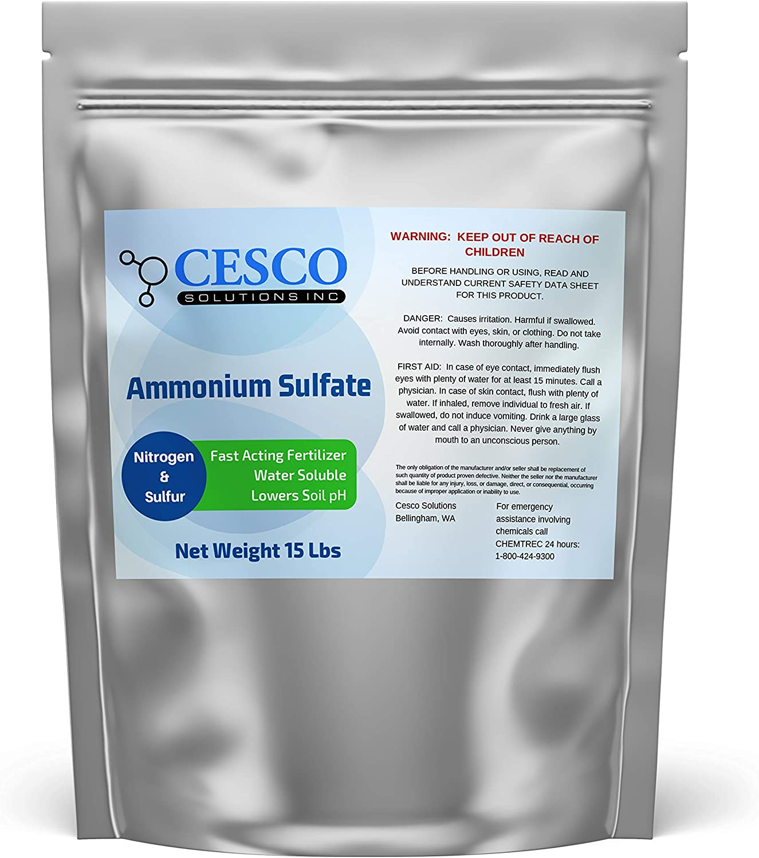 Cesco Solutions Ammonium Sulfate Fertilizer – 21% Nitrogen 21-0-0 Fertilizer for Lawns, Plants, Fruits and Vegetables, Water Soluble Fertilizer for Alkaline soils. Sturdy Resealable Package(15 lbs)