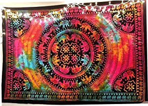 Multi Color Elephant Tapestry Indian Wall Decor Hippie Mandala Tapestry Wall Hanging by Diyana Impex (multi)