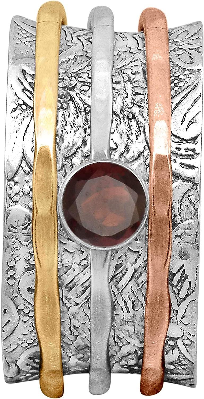 Signed 925 Sterling Silver Mult Color Gemstone Spinning Ring Size 6.5