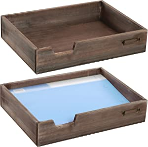 MyGift Set of 2 Vintage Distressed Finish Brown Wood Office Desktop Document Tray