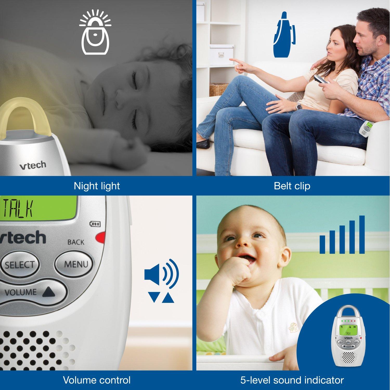 VTech DM221 Audio Baby Monitor with up to 1,000 ft of Range, Vibrating Sound-Alert, Talk Back Intercom & Night Light Loop by VTech (Image #5)