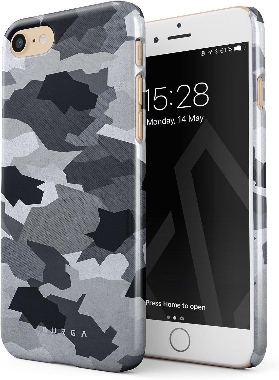 BURGA Cover per iPhone 7 / iPhone 8 Militare Nero e Bianco Notte