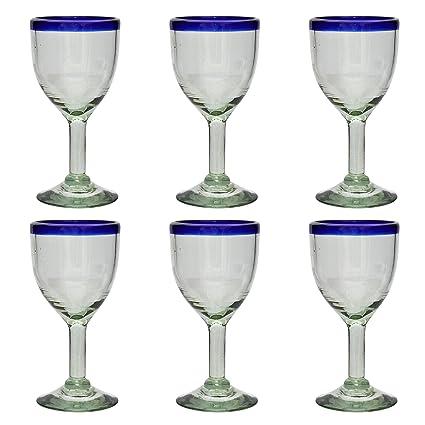 Vaso de Vino Artesanal - Tamaño medio – Vidrio Reciclado – Borde azul -Juego de
