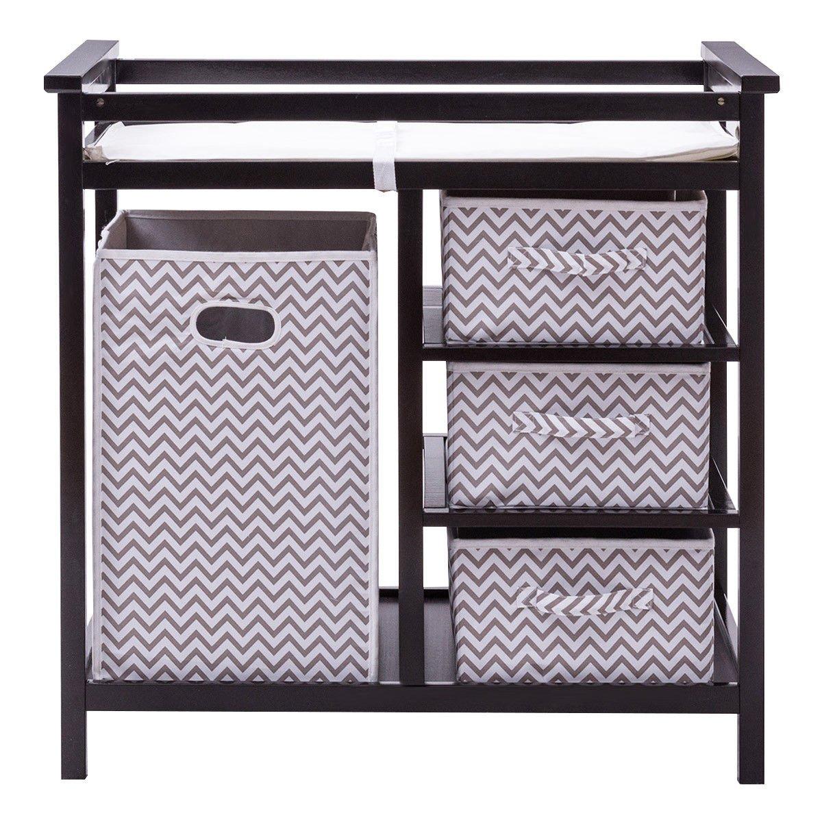 Black Infant Baby Changing Table w/3 Basket Hamper Diaper Storage Nursery