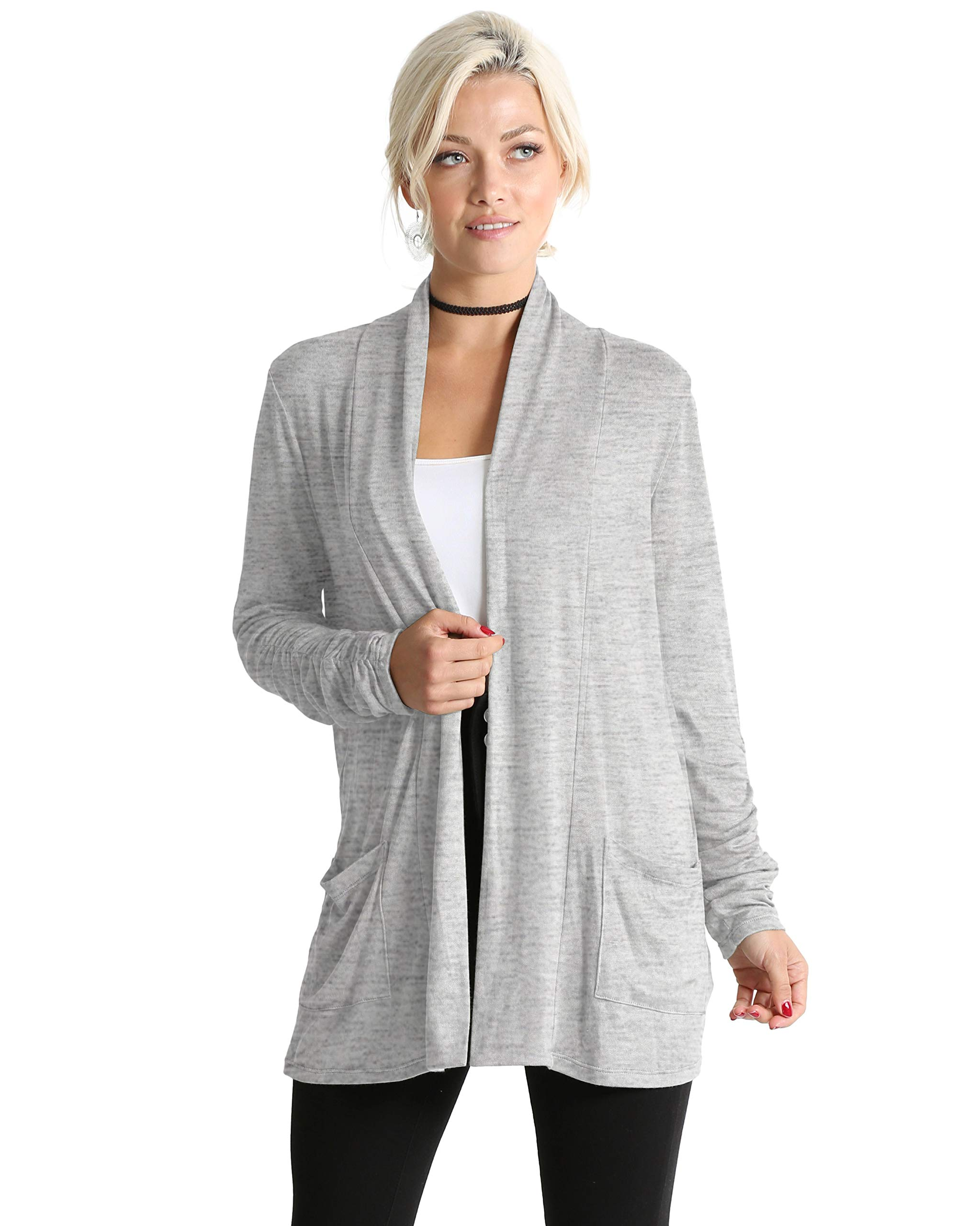 Simlu Long Sleeve Cardigan Sweater for Women with Pockets - Made in USA (Size Small US 2-4, Heather Grey)
