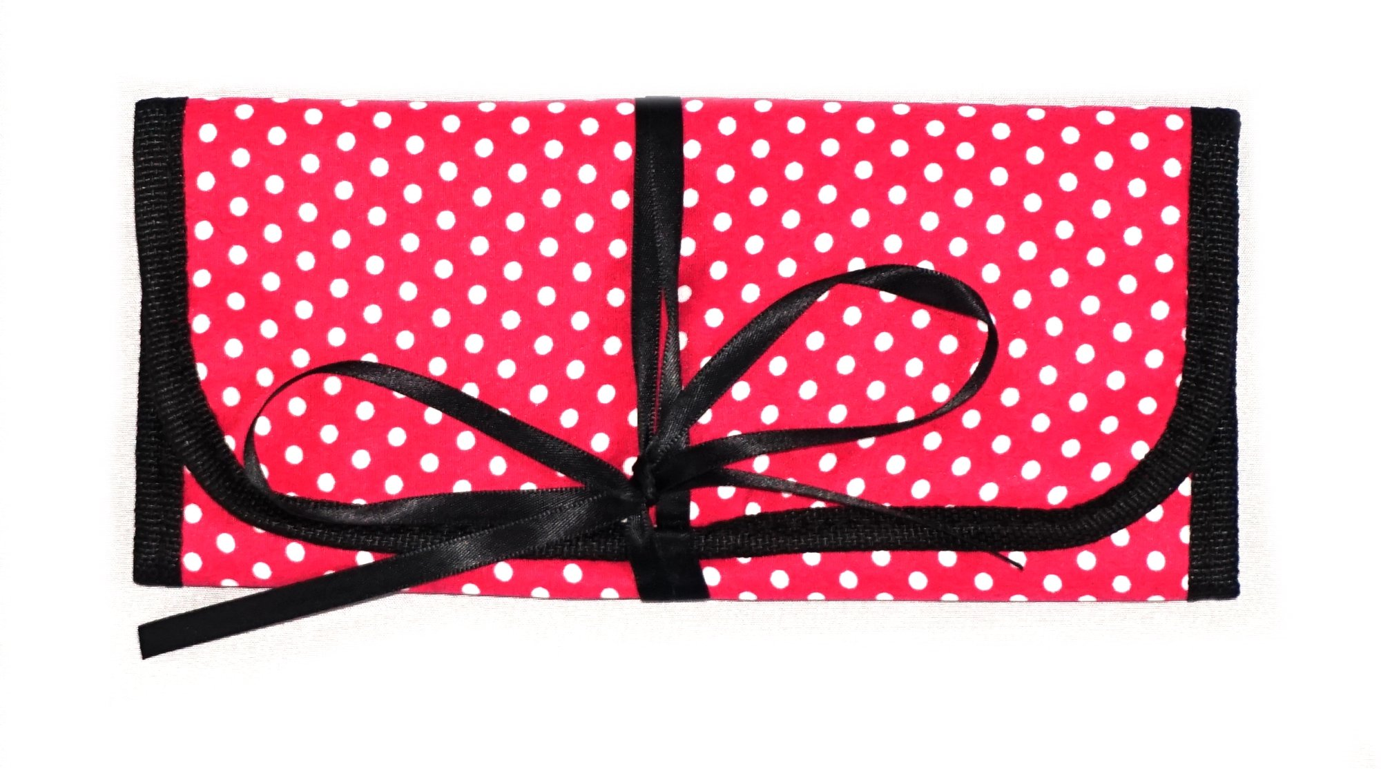 8'' x 11'' Hanging Travel Jewelry & Accessories Organizer Roll Bag (White Polka Dots & Pink/Pink)