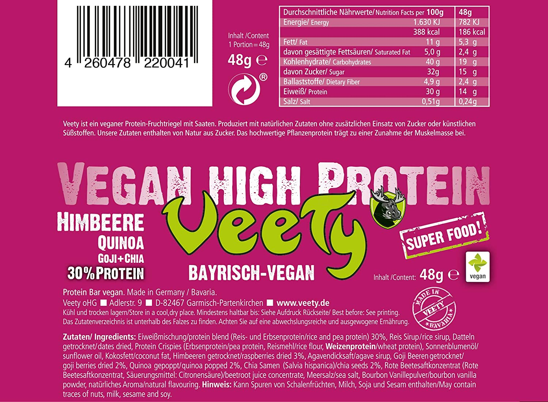 veety - Vegan High proteína Bar 30% - Frambuesa veganas ...