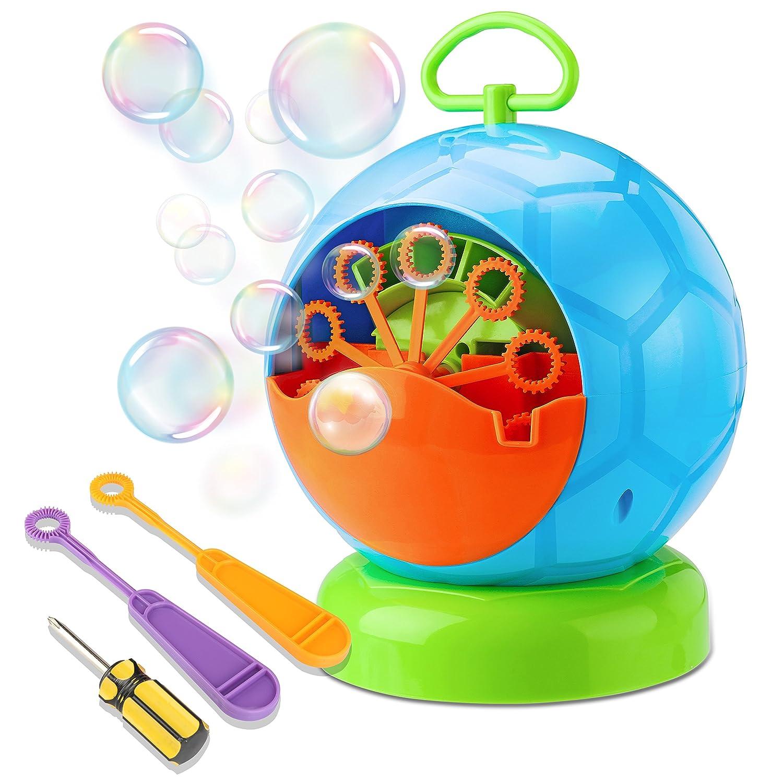 Fansteck Portátil Máquina de Burbujas, Soplador de Pompas de Jabón Duradero, Divertida Forma de Fútbol pomperos para Niños y Adultos, Fácil de Usar ...