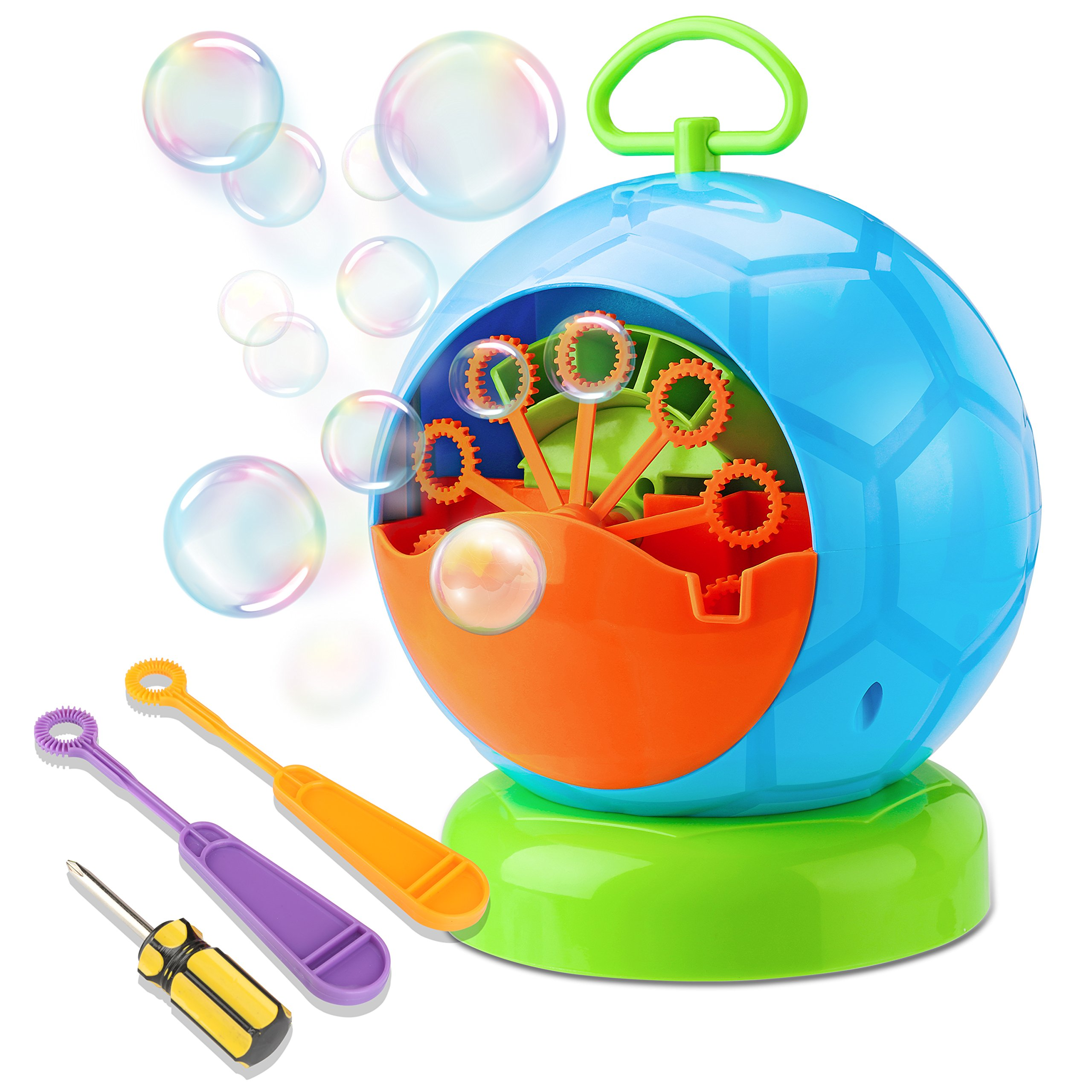 Fansteck Bubble Machine, Durable Portable Bubble Blower, New Automatic Bubble Maker 800+ Bubble Machine for Kids, Two Extra Manual Bubble Wands Gifts, Easy to Use for Christmas, Parties, Wedding