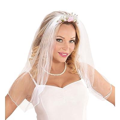 Widmann 07063–Diadème avec Voile de mariée avec roses et diamants pour adulte taille unique
