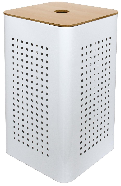 Gelco 707540 White Laundry Basket White Metal/Wood 30 x 30 x 50 cm B01L6RHNJQ