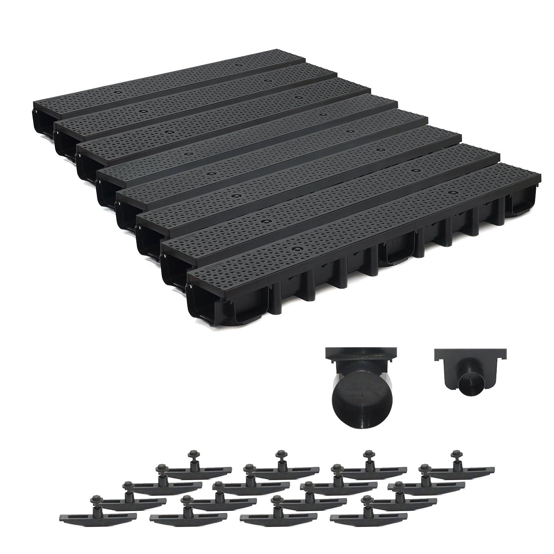 8m Entwässerungsrinne für modulares System A15 98mm, komplett Stegrost Kunststoff, Schwarz Decor