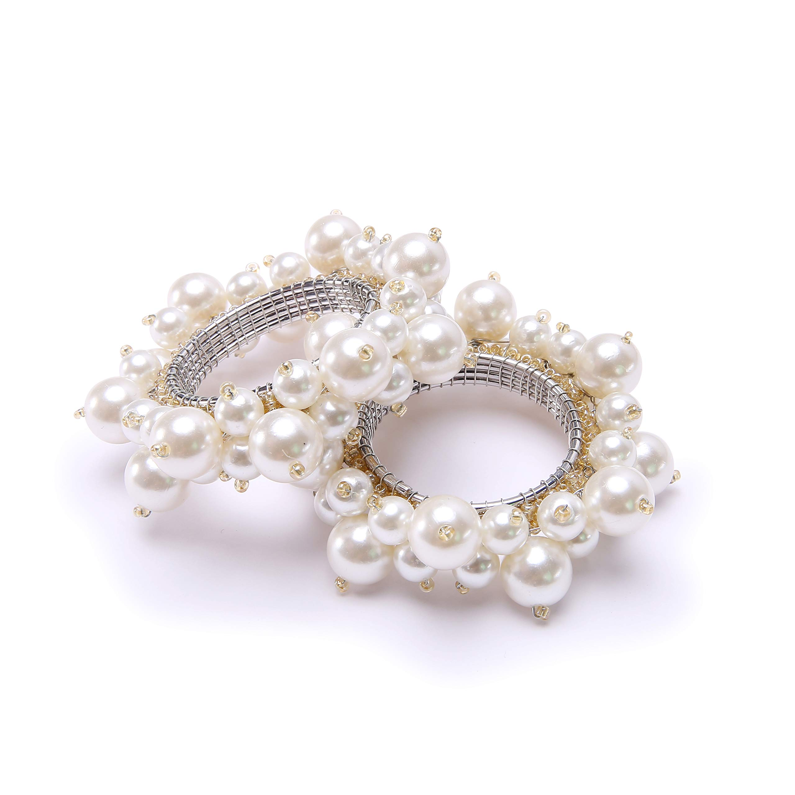 QUEENSHOW Handmade Pearl Napkin Rings Set with Solid White Stainless Steel Metal Rings, 4 pics