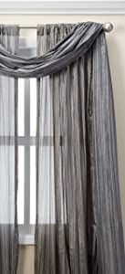 """Elrene Home Fashions Venice Curtain Panels with Scarf Valance - Set of 3 - Panel 52"""" W x 108"""" L, Scarf 52"""" W x 216"""" L, Silver (2 panels - 1 scarf)"""