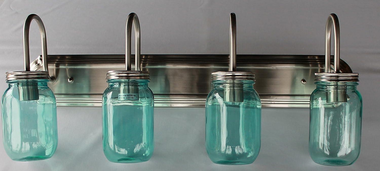 Yosemite Home Decor Vanity Lighting Family 4 Light Chrome: Mason Jar Lighting, 4 Light Brushed Nickel Vanity Light