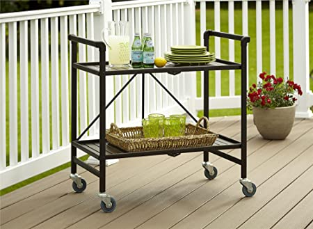 Cosco Indoor Outdoor Serving Cart, Folding, Brown