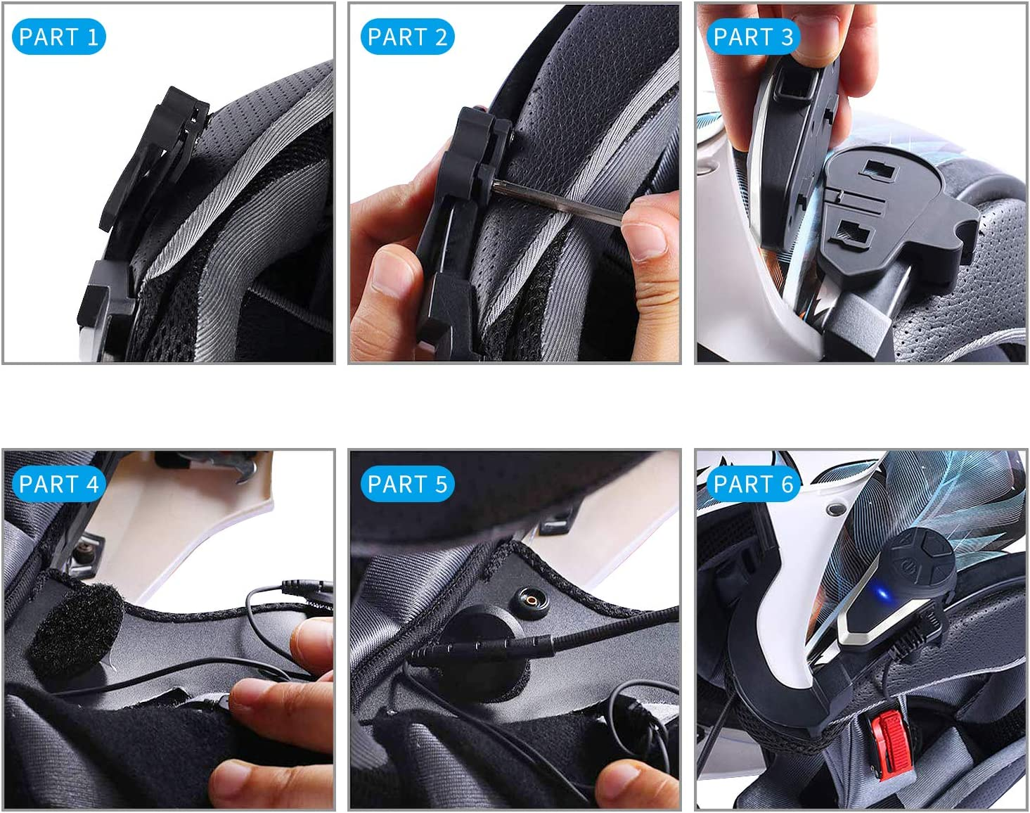 Off-Road Motorcycle Helmet Bluetooth Headset 1000m Bluetooth Communication System Connect up to Three People Two People Talk at The Same time Anqiban BT-S3 Motorcycle Bluetooth intercom 2 Pack