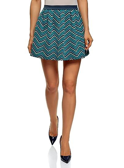 oodji Ultra Mujer Falda Acampanada de Tejido Texturizado: Amazon ...