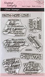 Stamp Simply Clear Stamps Wonder of Christmas Sentiments Christian Religious 4x6 Inch Sheet - 8 Pieces
