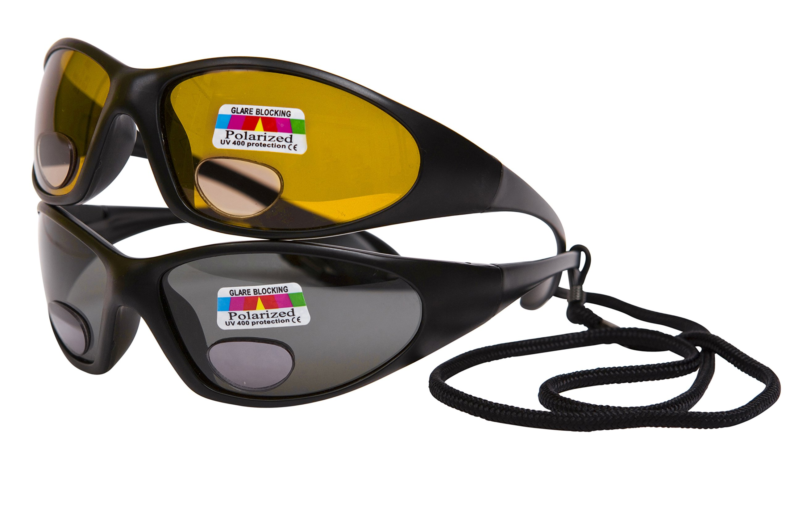 cdf6faf411c 2 pairs Polarised fishing glasses with bifocal lenses +2.50 - One pair grey  lenses for