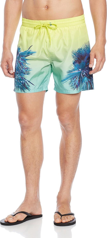 Diesel Electric Palms Print Men's Swim Shorts, Blue/Aqua