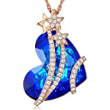 Desimtion Shining Star Blue Heart Pendant Necklaces,Jewelry Gifts For Women
