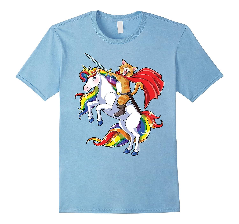 Cat Riding Unicorn T-shirt Funny Kitty Kitten Rainbow Gifts-TJ