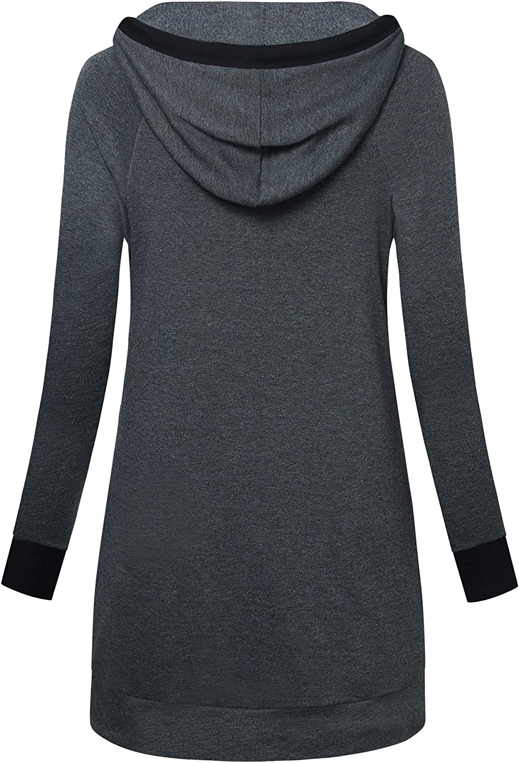 Vivilli Womens Long Sleeve Tunic Shirt Funnel Neck Casual Pullover Hoodie Top with Pocket