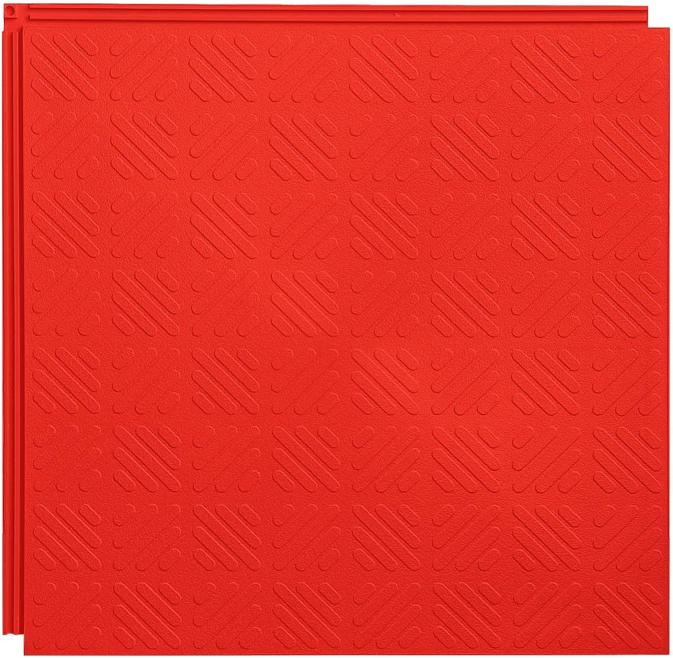 Resilia Flexible Interlocking Snap Floor Tiles – Protective Flooring for Your Garage, Home, Office or Gym, Red Color, Grid Texture, 12-inch, 0.25-inch, 10 Pack