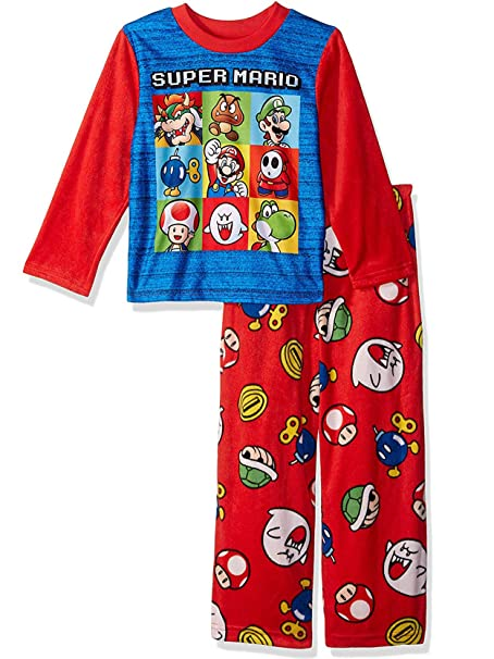 Amazon.com: Super Mario - Juego de 2 pajamas de forro polar ...