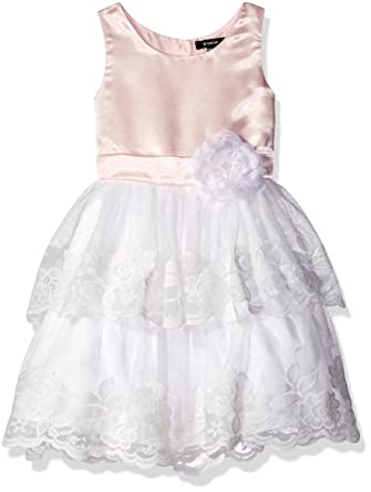 60c6fd30b8167 Amazon.com: ZUNIE Girls' Shantung Lace Tiered Dress Flower: Clothing