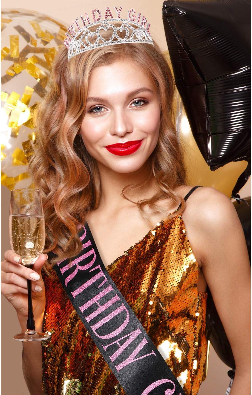 Rosa Corona Glitter Compleanno Fascia per Strass con Decorazioni in Cristallo con Compleanno Bella Ragazza Sash