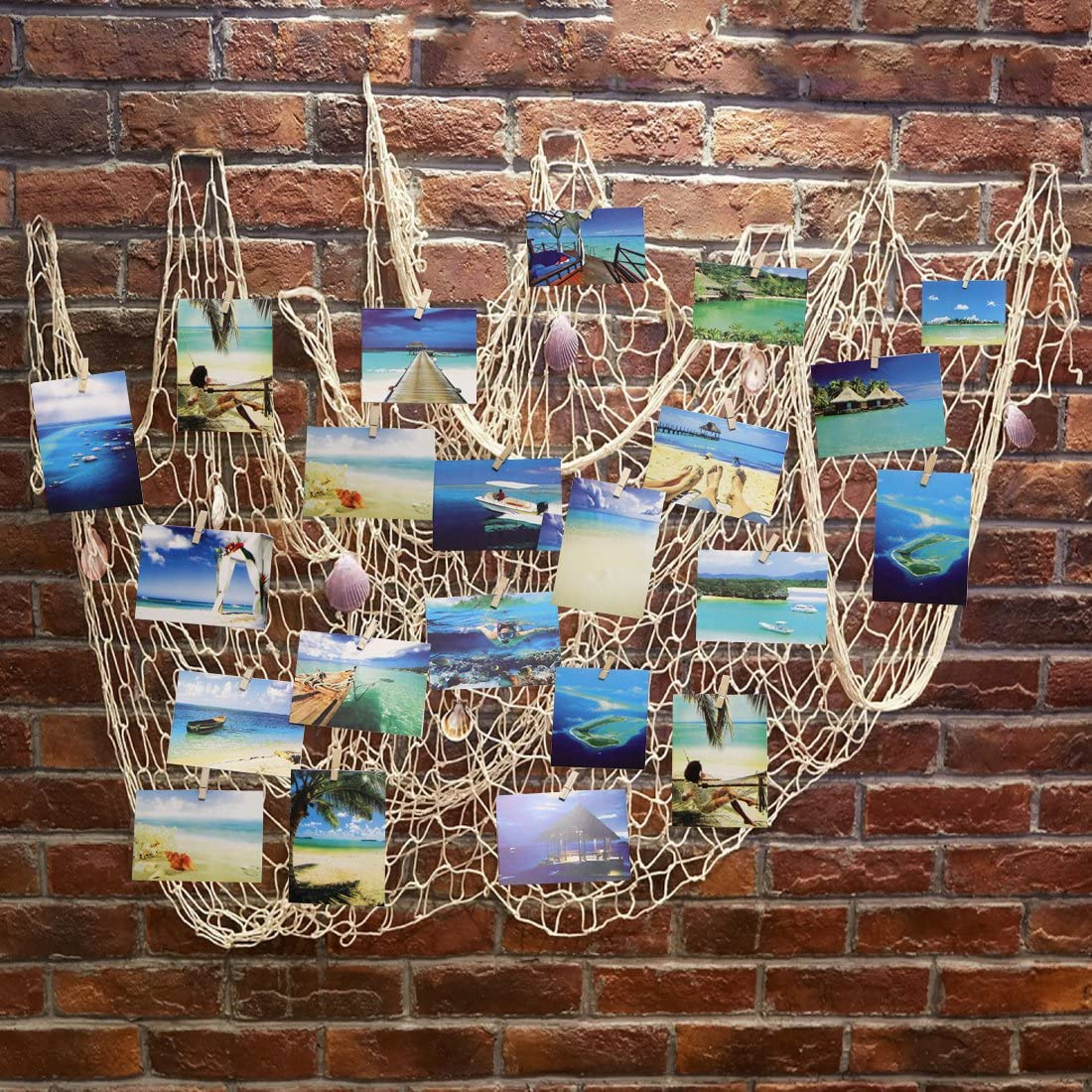 YLMY 79x40 Inch Nautical Themed Mediterranean Fishing Net Photo Wall Decor, Photo Hanging Display Frames with 30 Clips, Picture Cards Artworks Organizer for Dorm, Home,Beach Themed Party Decorations