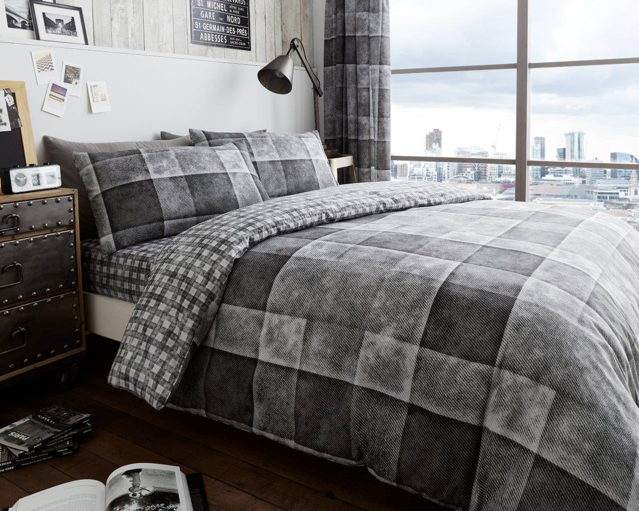Duvet Cover Set Double Size Bed With Pillowcases Quilt Bedding Set Printed Reversible Poly Cotton , Denim Check Blue De Lavish