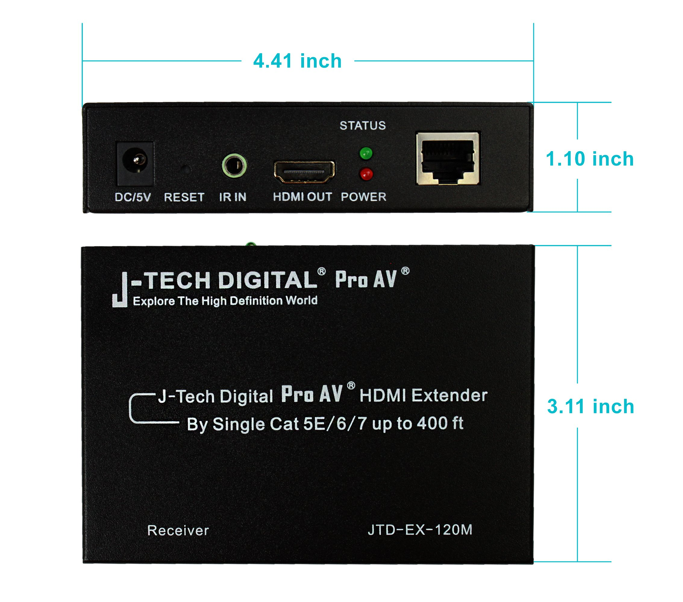 J-Tech Digital ProAV Hdmi Extender Over TCP/IP Ethernet/over Single Cat5e/cat6 Cable 1080p with IR Remote - Up to 400 Ft by J-Tech Digital (Image #4)