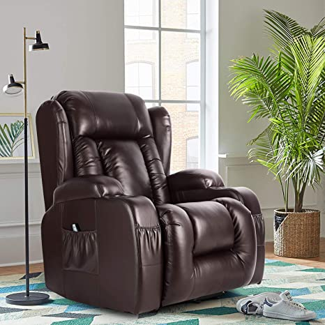 Amazon.com: Artist Hand 8 Point Massage Leather Recliner Lounge Chair, Zero Gravity Ergonomic Living Room Snuggling Sofa, Swivel Gliding PU Recliner With Lumbar Heated Remote Control Fit For Theater Feeding Baby: Kitchen