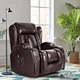 Artist Hand 8 Point Massage Leather Recliner Lounge Chair, Zero Gravity Ergonomic Living Room Snuggling Sofa, Swivel Gliding PU Recliner with Lumbar Heated Remote Control Fit for Theater Feeding Baby