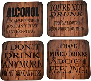 Alcohol Drink Coaster Set Gift For Drinking Drunk Funny Joke Home Kitchen Bar Barware