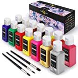Magicfly Permanent Soft Fabric Paint Set, Set of 14(60ml Each) Textile Paints with 3 Brushes, No Heating Needed & Washable Fa