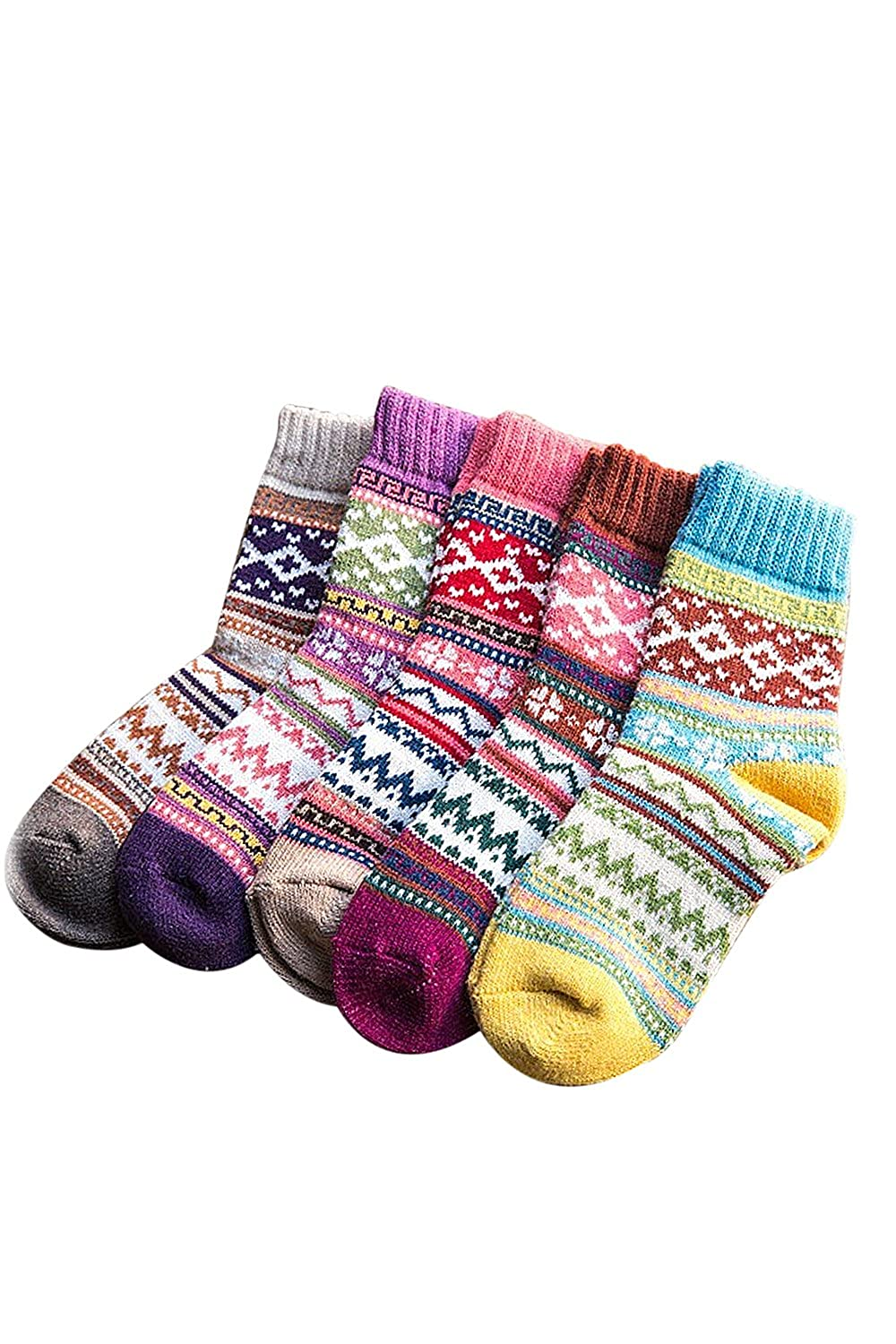 Elisona 5 Pairs of Women Ladies Girls Mixed Colors Winter Warm Thickness Bohemia Style Tube Socks Random Color