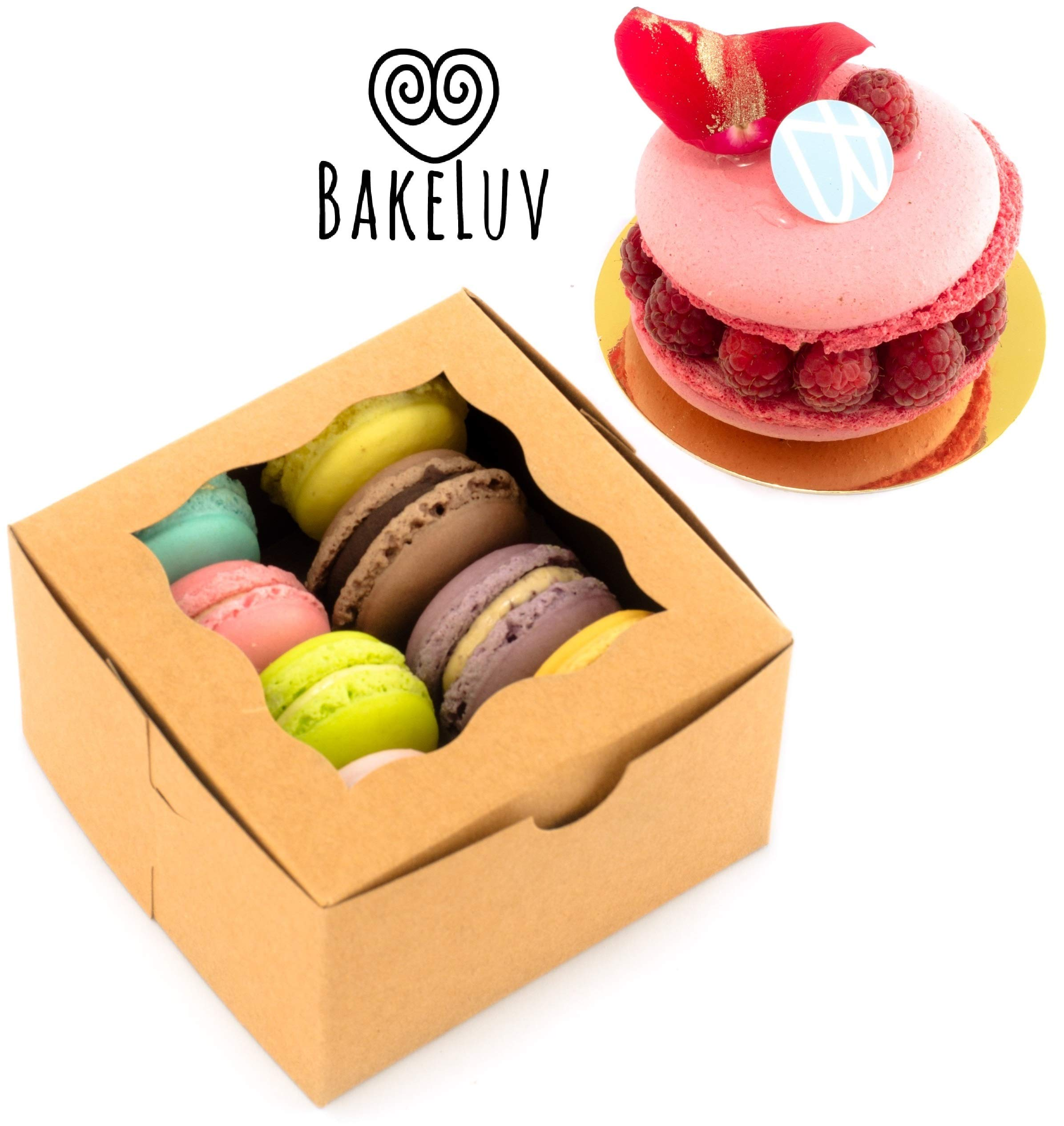 BakeLuv Brown Bakery Boxes with Window 4x4x2.5 inches | 50 Pack | Thick & Sturdy | Bakery Boxes, Mini Cake Boxes, Cookie Boxes with Window, Dessert, Pastry, Treat Boxes with Window by BakeLuv