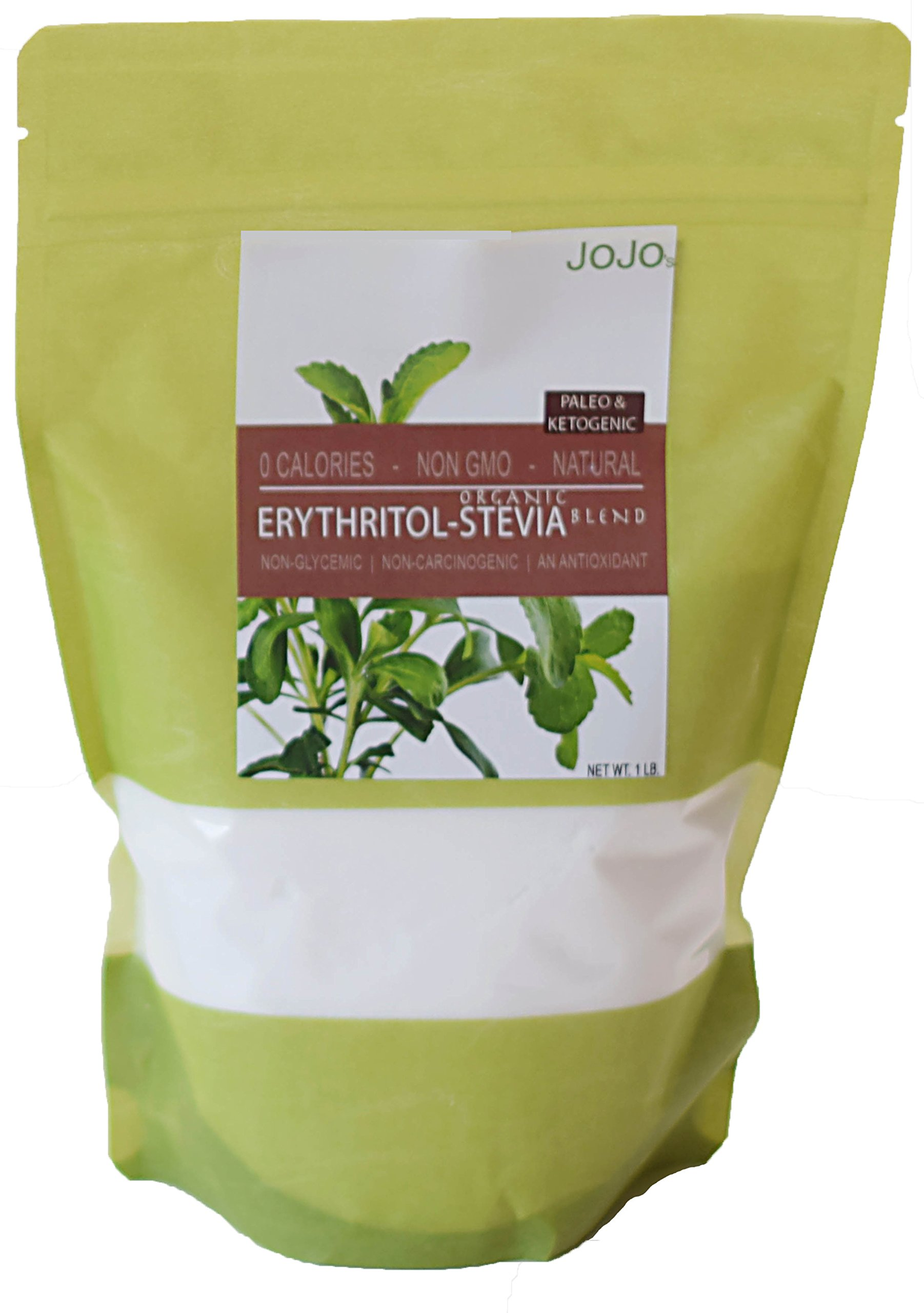 Erythritol Stevia Blend 1lb All Natural Organic Stevia Paleo Ketogenic Sweetener, 226 servings. Perfect for baking sugar free recipes + 5 Sugar Free Recipes Included With Your Order by JOJO's Chocolate