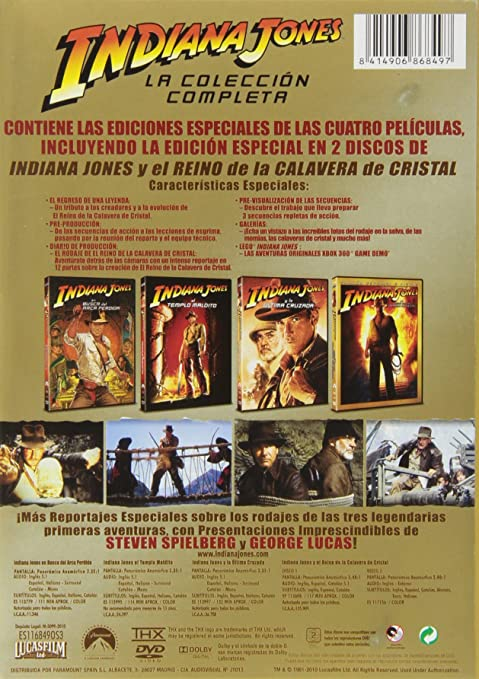 Pack Cuatrilogía Indiana Jones *** Europe Zone ***: Amazon.co.uk: Harrison  Ford, Karen Allen, Denholm Elliott, Amrish Puri, Jonathan Ke Quan, Kate  Capshaw, ...