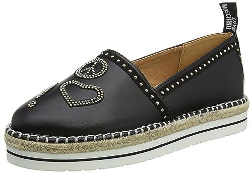 Womens Scarpad.13447/35 Napp.Pu+Cam.Nero Loafers, Black Love Moschino