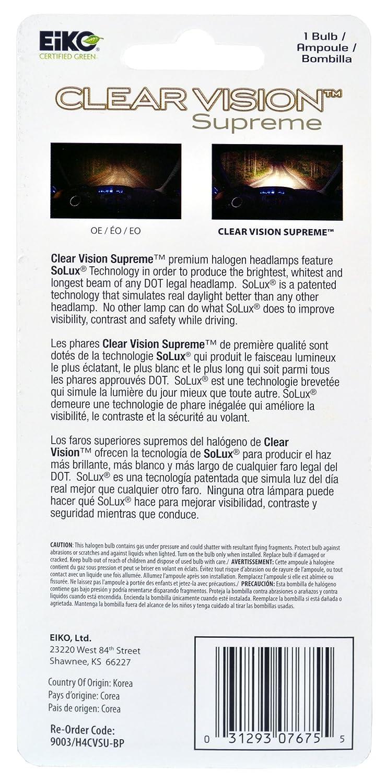 Amazon.com: EiKO 9003/H4CVSU-BP 9003/H4 Clear Vision PRO Halogen Replacement Bulb, (Pack of 1): Automotive