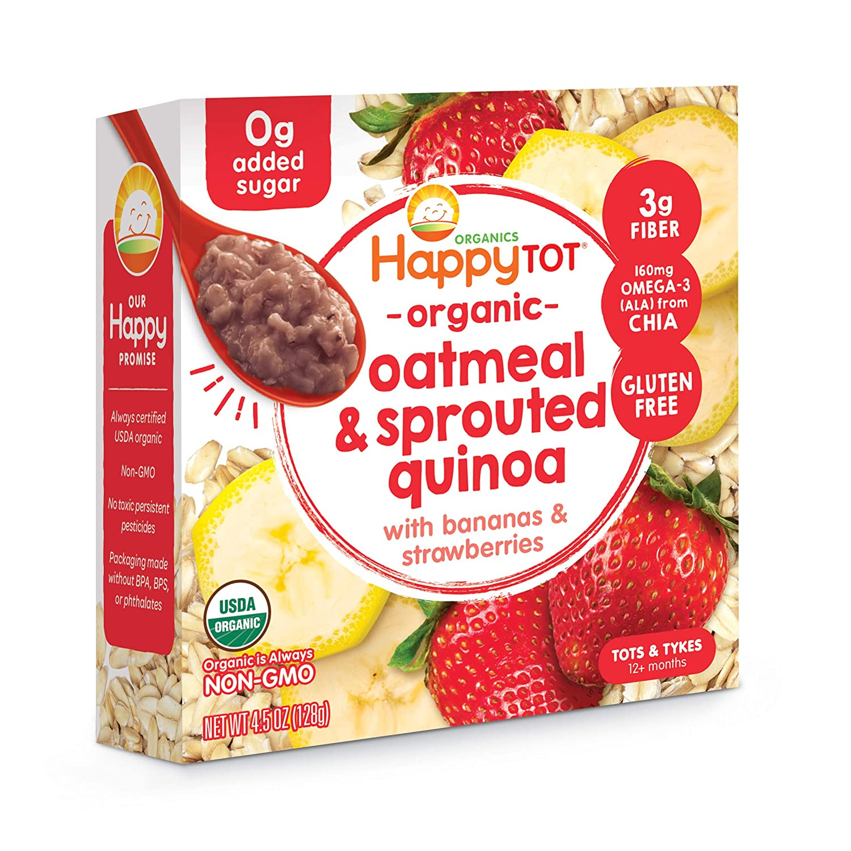 Happy Tot Super Morning Oatmeal Bowls Organic Toddler Food Bananas and Strawberries, 4.5 Ounce Bowl (Pack of 8) (Packaging May Vary)