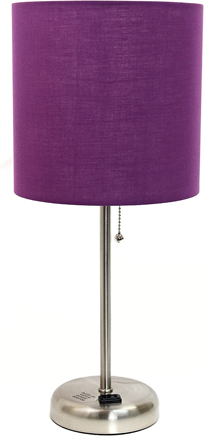 Limelights LT2024-PRP Stick Brushed Steel Lamp with Charging Outlet and Fabric Shade, 19.50 x 8.50 x 8.50 inches, Purple